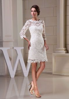 Sheath Lace Jewel Neck 3/4 Length Sleeve White  Wedding Dress picture 4
