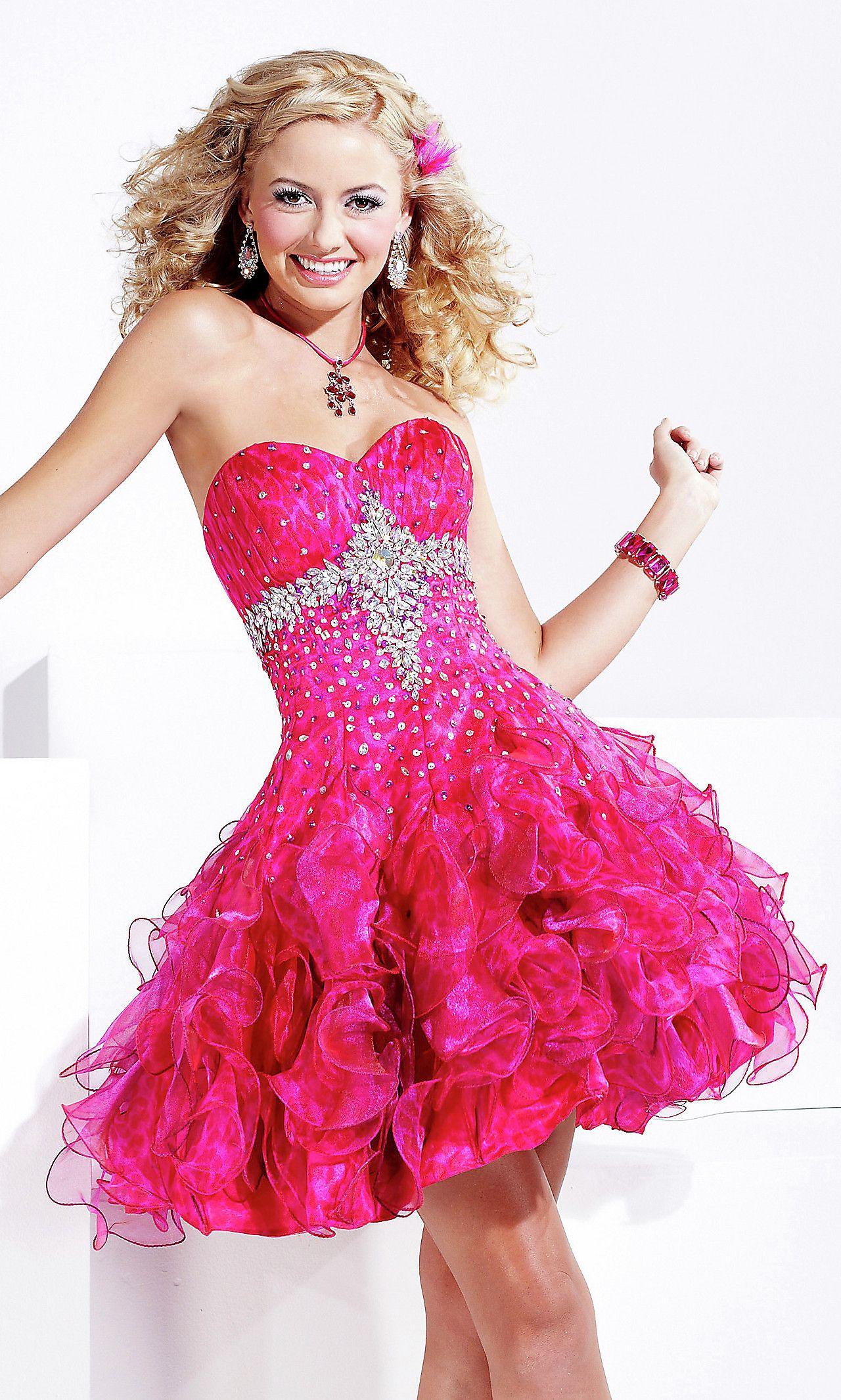 Short Strapless Pink Prom Dress by Hannah S | stuff | Pinterest
