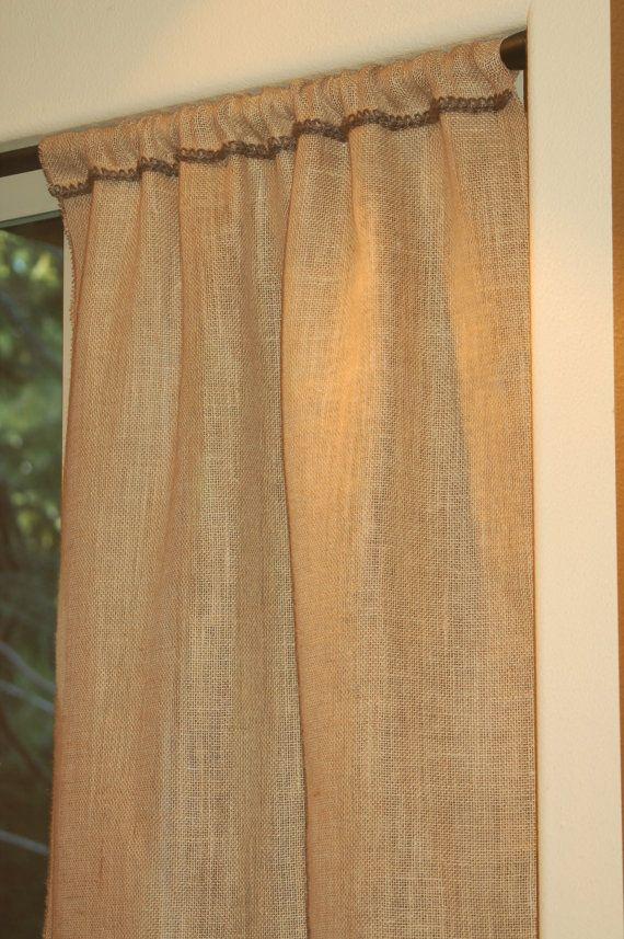 46 Wide Burlap Curtain Window Panel With Crochet Jute Trim In