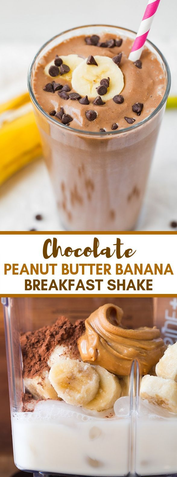 Chocolate Peanut Butter Banana Shake  - Healthy Drink & Coctail -