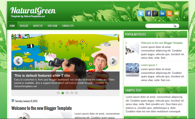 Natural Green Is a Two Column Blogger Template with a ...