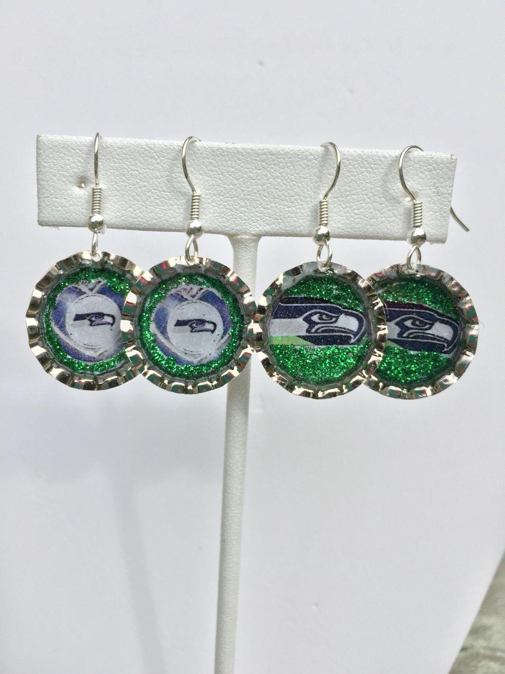 Seahawks lightweight bottle cap earrings. Made by Wylene at Shady Lane Jewelry