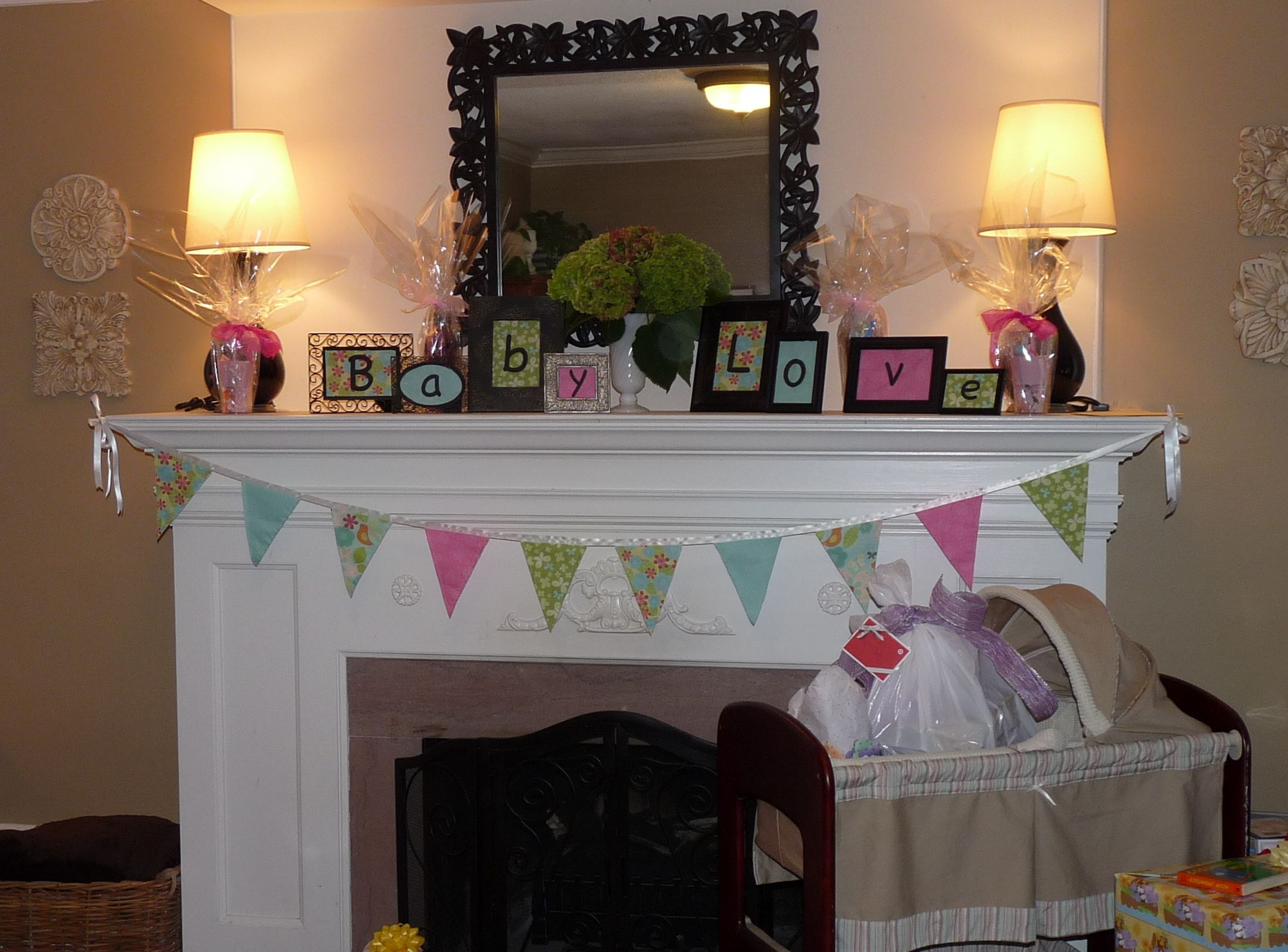 Baby shower mantle decorations