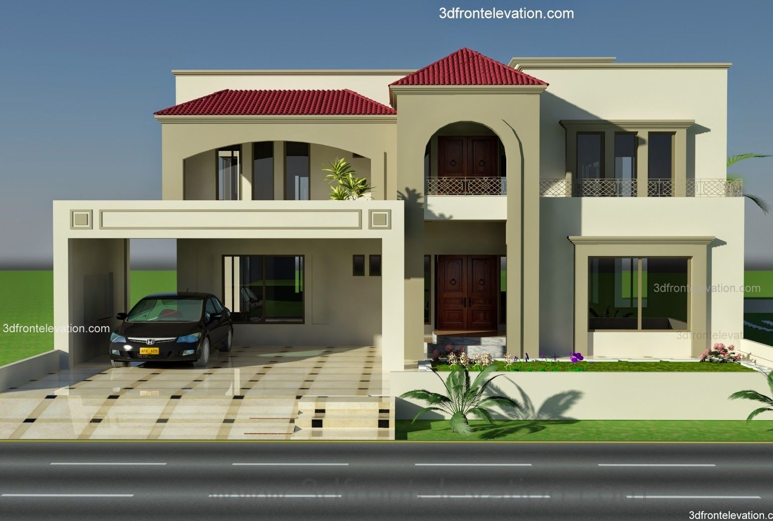 1 kanal plot house design europen style in bahria town for Pakistani new home designs exterior views