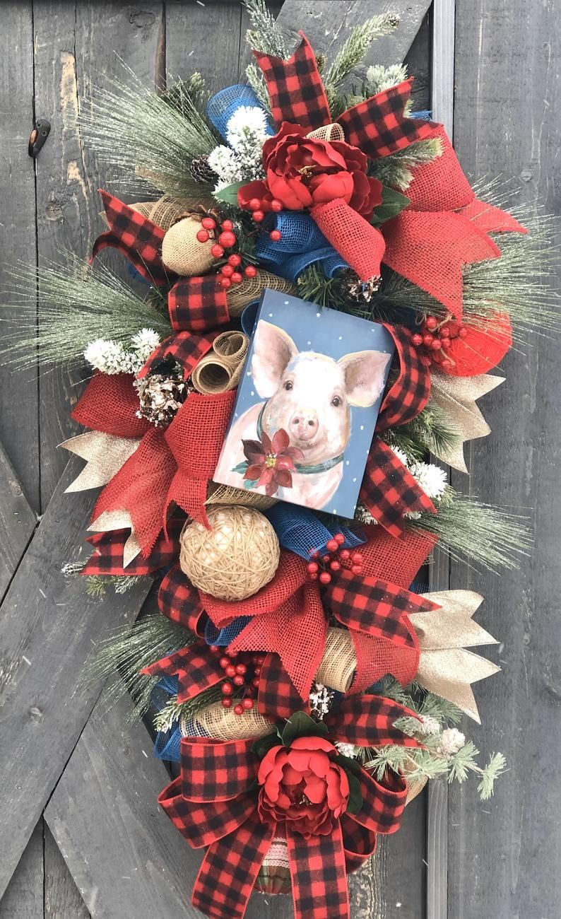 Farmhouse Christmas Swags For Front Door Double Door Christmas Swags Country Christmas Swags Farm Christmas Wreaths Pig Christmas Decor Christmas Swags Farmhouse Christmas Wreath Boxes