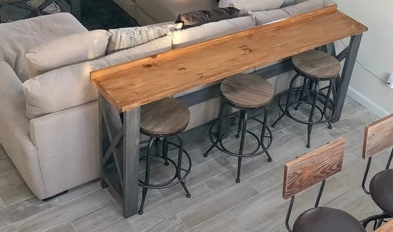 Sofa Bar Tablesold But We Will Be Happy To Build You A Etsy In 2020 Table Behind Couch Bar Table Behind Couch