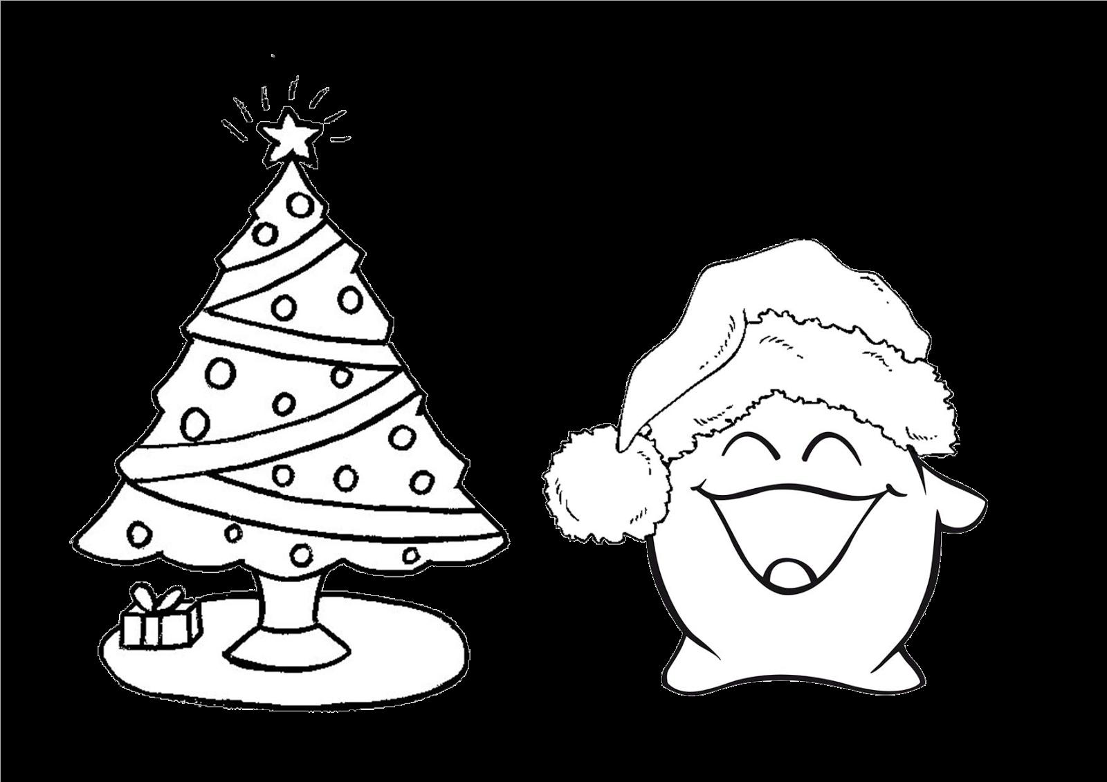 Plantilla para recortar y colorear árbol de navidad y nuestra ...