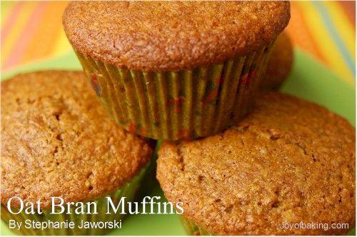 Oat Bran Muffins: (1 C whole wheat flour, 1 C oat bran, 1/3
