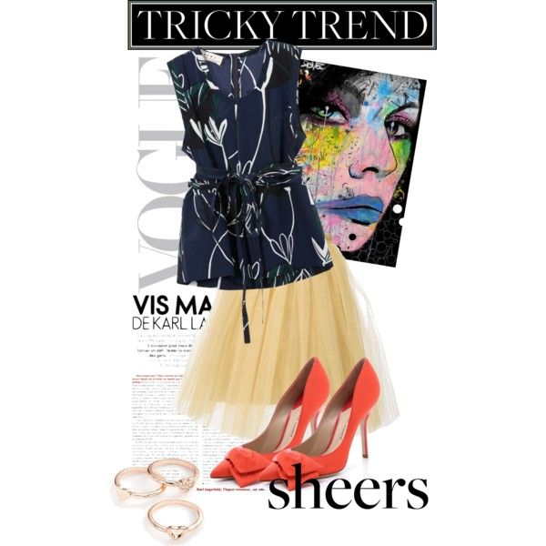 """Tricky trend alert! Sheers: how would you style them? """"Untitled #1180"""" by lindagama on Polyvore"""