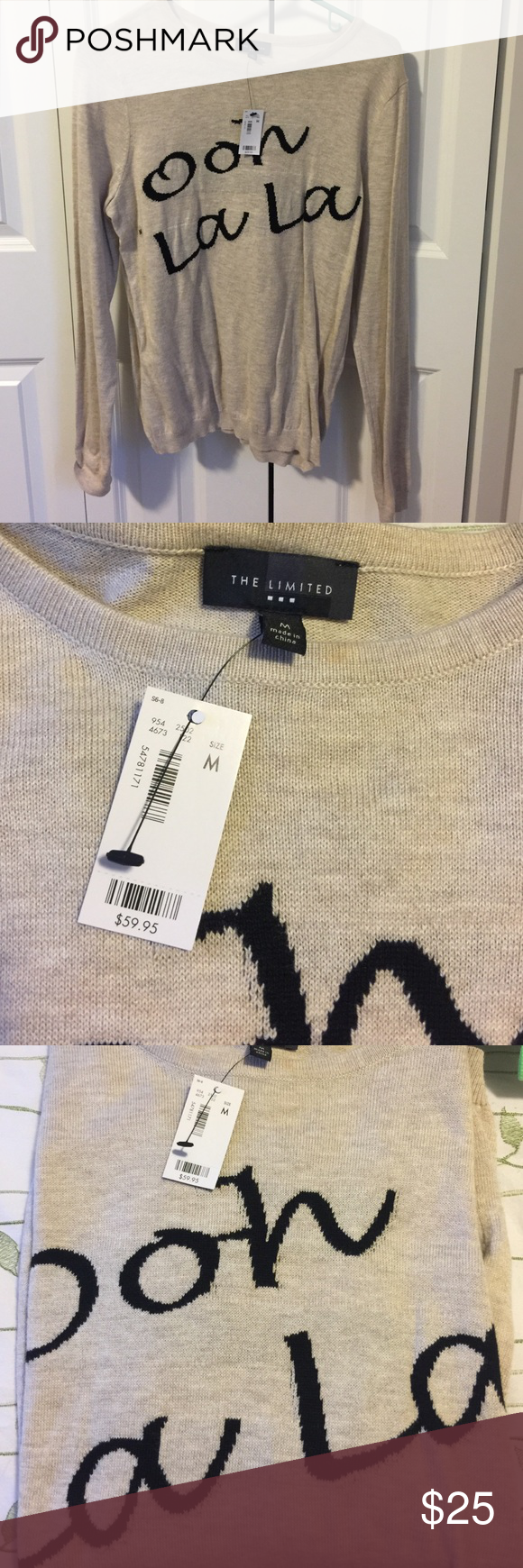 Ooh la la sweater nwt ooh la la sweater the limited sweater with words never worn from smoke free publicscrutiny Image collections