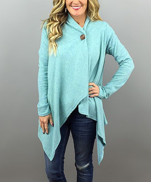 Look at this Mint One-Button Wrap Cardigan on #zulily today!