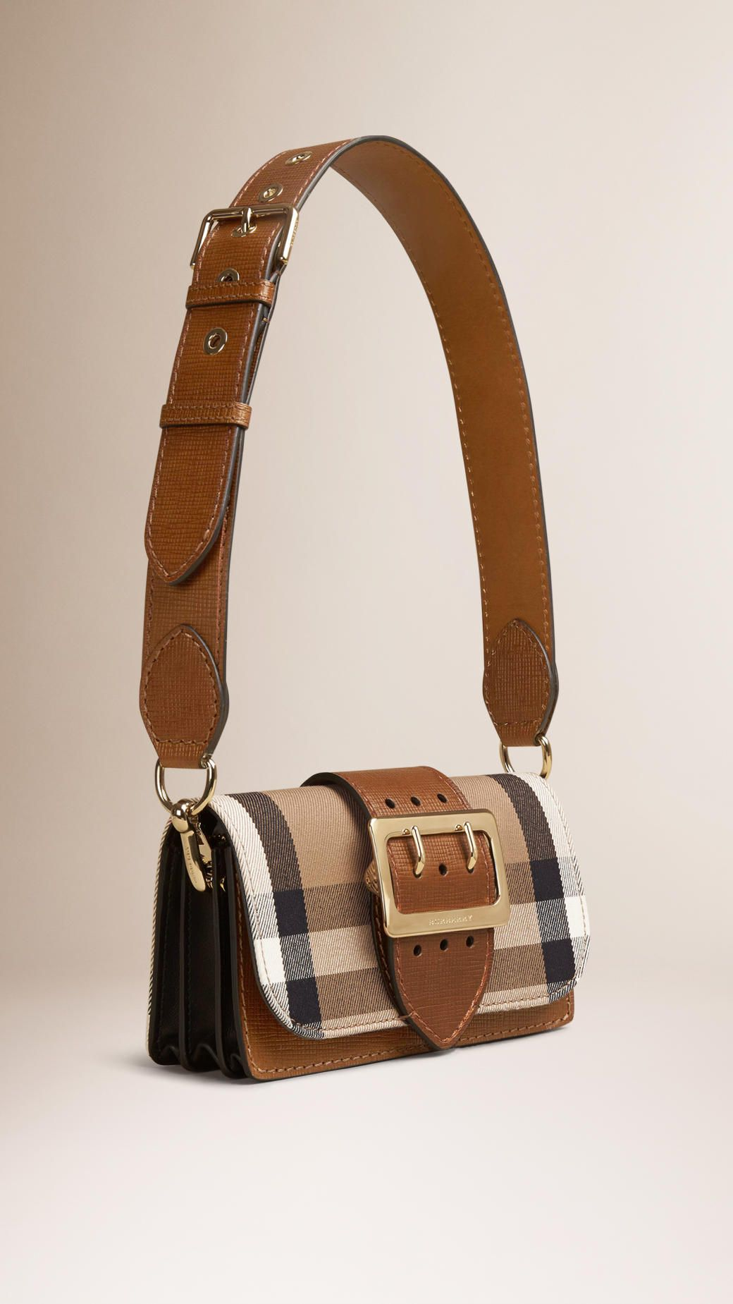 09d9187d5b36 The Small Belt Shoulder Bag in House Check and Leather Tan