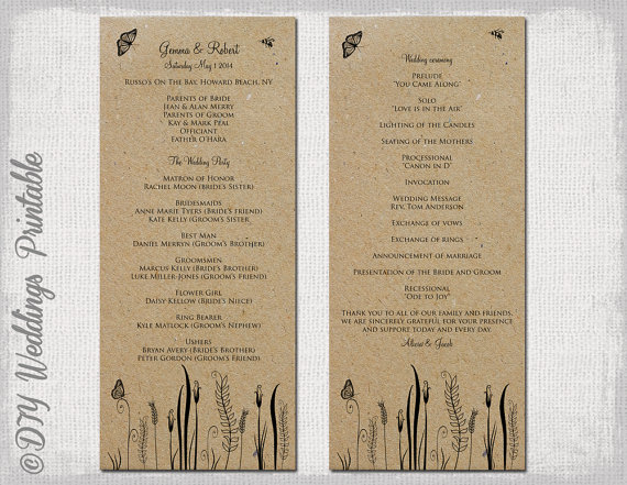 Rustic Wedding Program Template Butterfly Meadow Country Any Color DIY Printable Editable Download