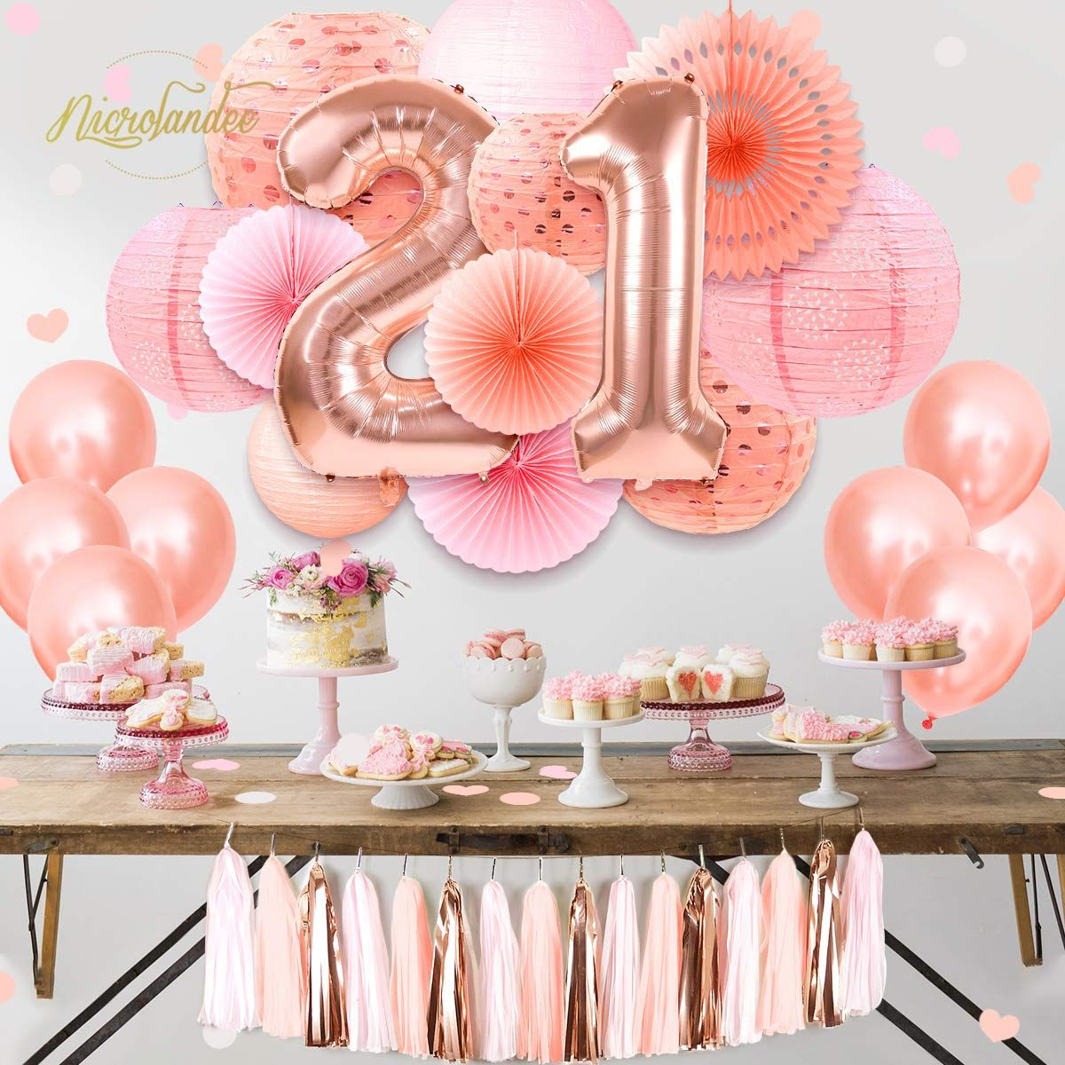 Pink Sweet 21st Birthday Party Supplies 40inch Rose Gold 21 Number Foil Balloon H Rose Gold Party Decor Gold Party Decorations Happy Birthday Party Decorations