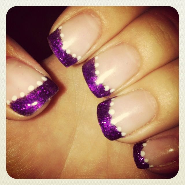 Purple Sparkle Tipped Gel Nails
