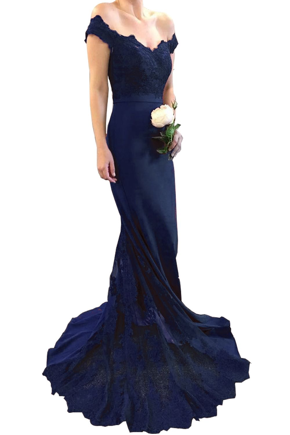 Red prom dress jersey long women formal wear with lace appliqued