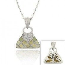 Sterling Silver .925 Genuine Yellow Mother Of Pearl MOP Inlay Simulated Diamond cz Heart Leaf Flower Filigree HandBag Bag Purse Pendant