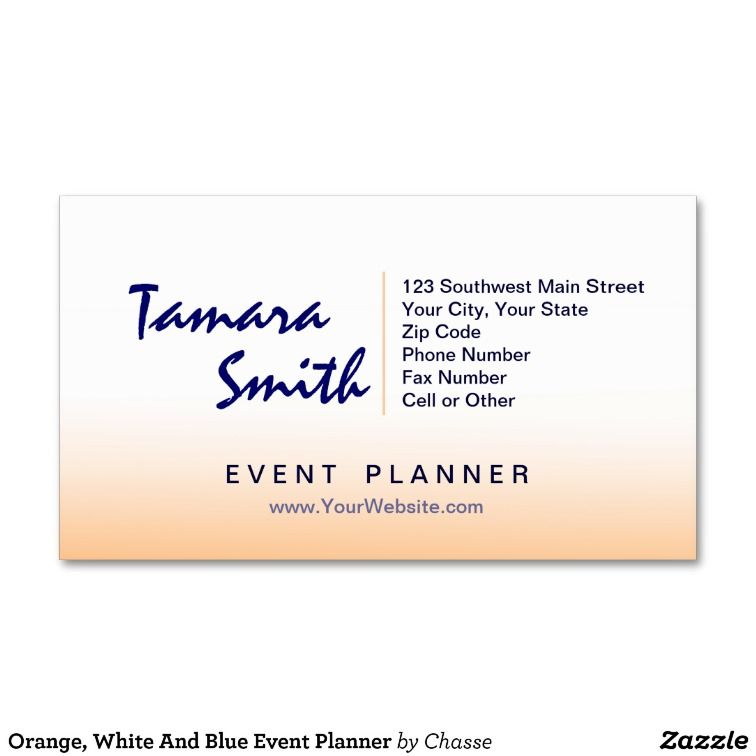 Orange, White And Blue Event Planner Business Card
