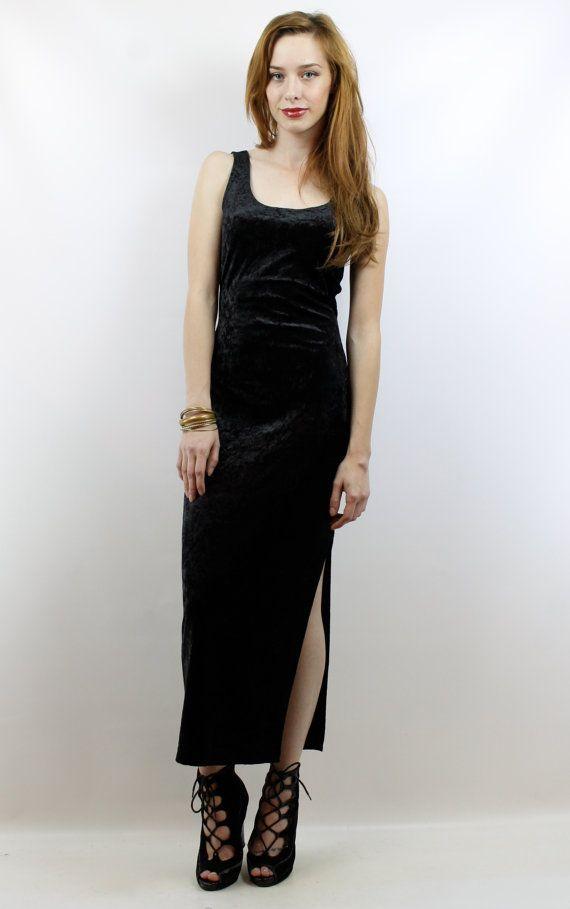 Vintage 90s Grunge Black Crushed Velvet Maxi Dress S Black Velvet