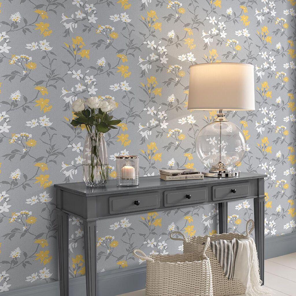 Graham Brown Aeris Gray Yellow Wallpaper In 2020 Grey