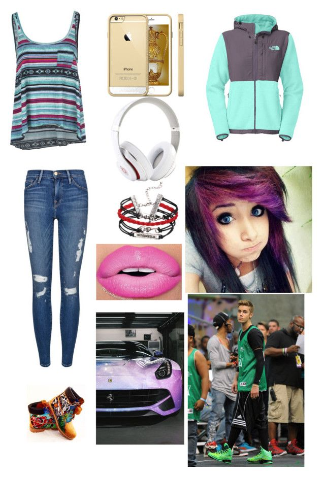 """""""Lambo chic"""" by starrygirl918 ❤ liked on Polyvore featuring Billabong, Frame Denim, Timberland, Beats by Dr. Dre and The North Face"""