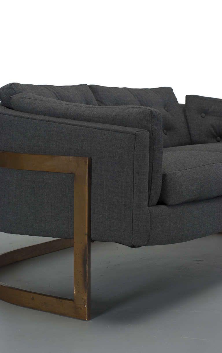 Milo Baughman Bronze Cantilever Sofa Mebel Dizajn Kreslo