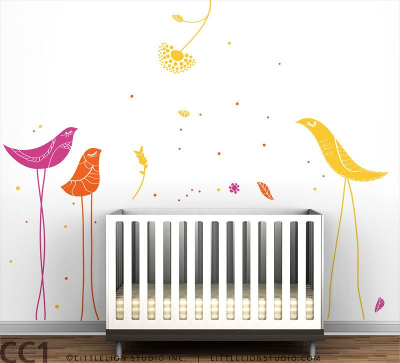 Carnival Birds Wall Decal Kids Rooms Pinterest Wall Decals - Yellow bird wall decals