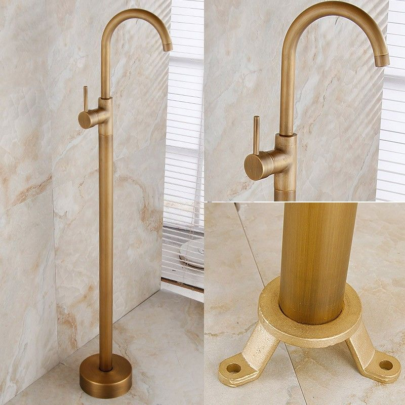 Antique brass 1-lever freestanding tub faucet with swivel spout ...