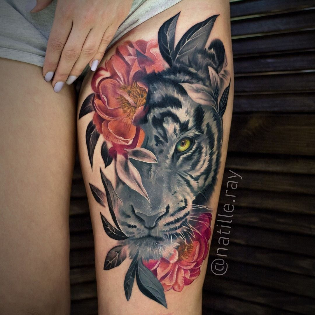 Pin By Shelly Mourick On Art Work Tattoos Leopard Tattoos Thigh Tattoos Women Leg Tattoos Women