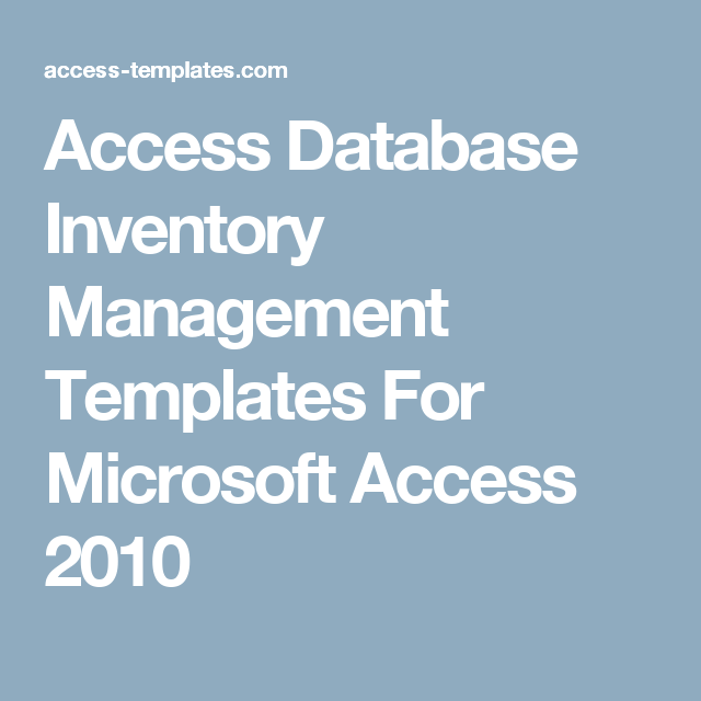 microsoft access inventory management template