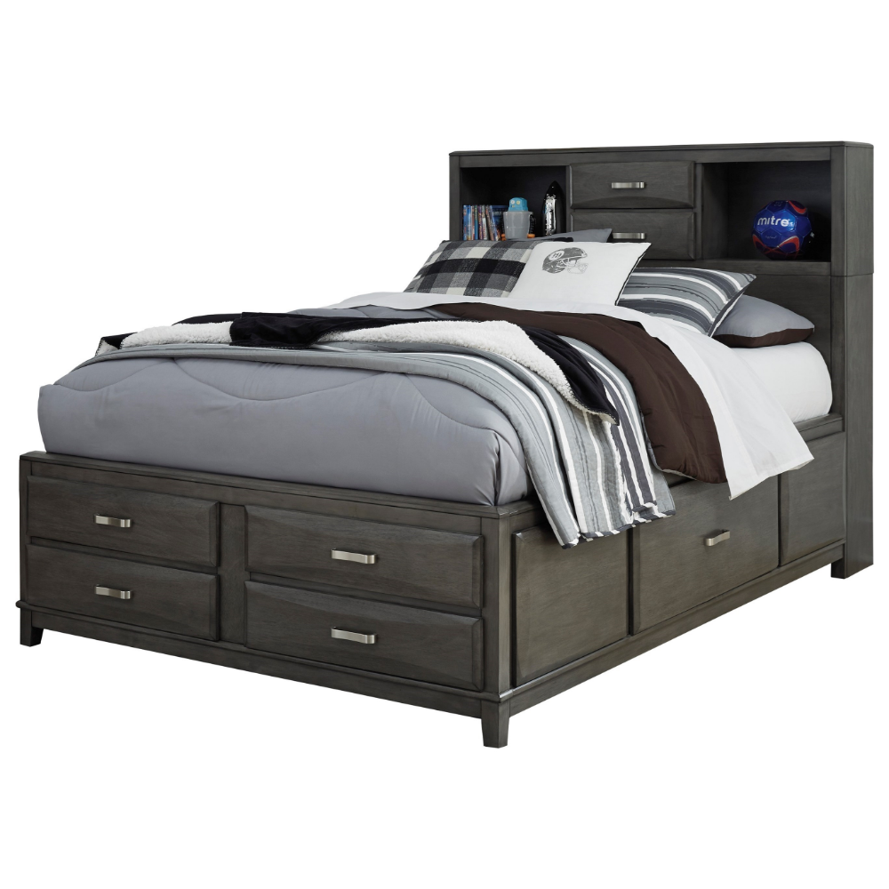 Caitbrook Full Captain S Bed With Bookcase Headboard By Signature Design By Ashley Full Bed With Storage Bed Storage Bookcase Headboard