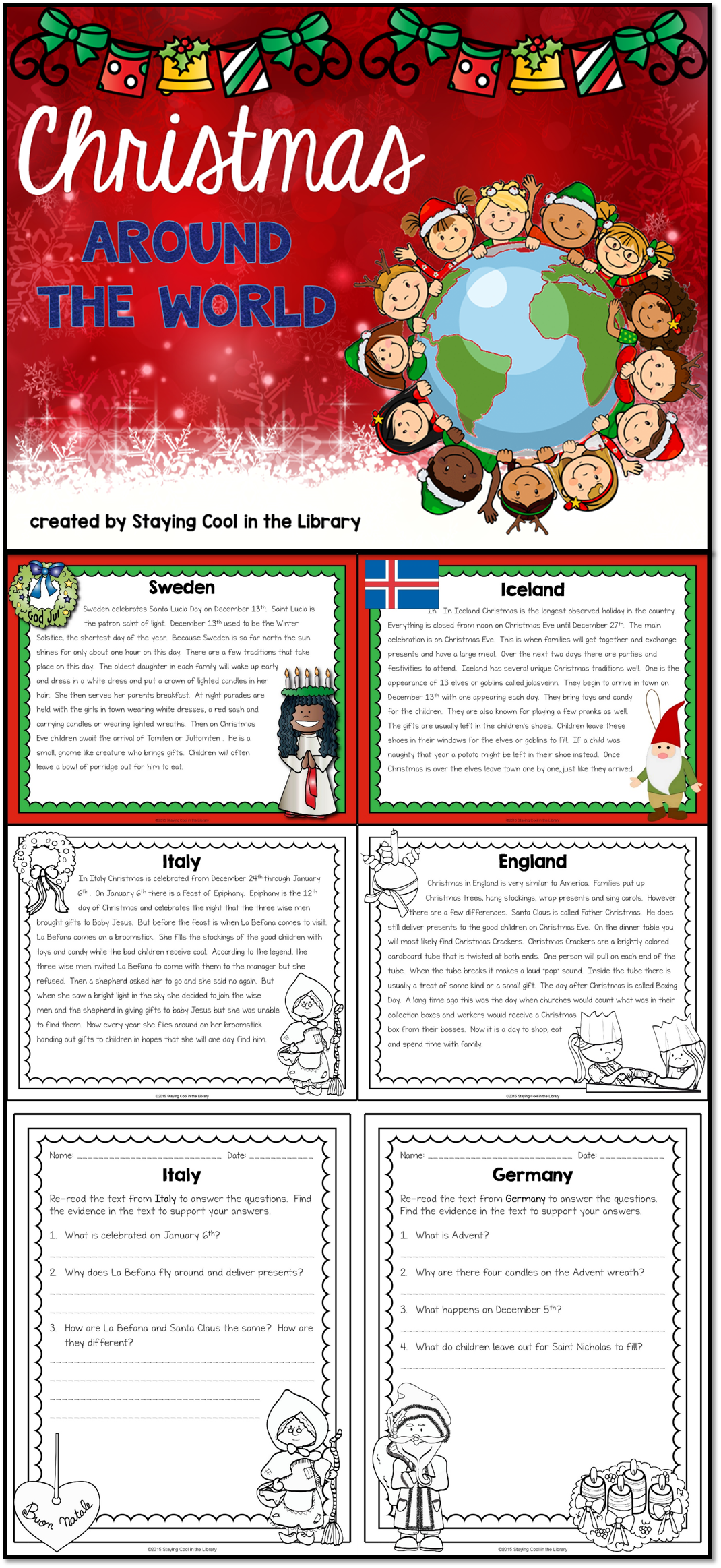 Christmas Around the World Activity Pack Library lesson