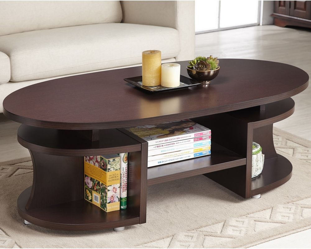 Modern Walnut Coffee Table W Shelves Cocktail Tv Table Living Room  # Muebles Zb Zaragoza