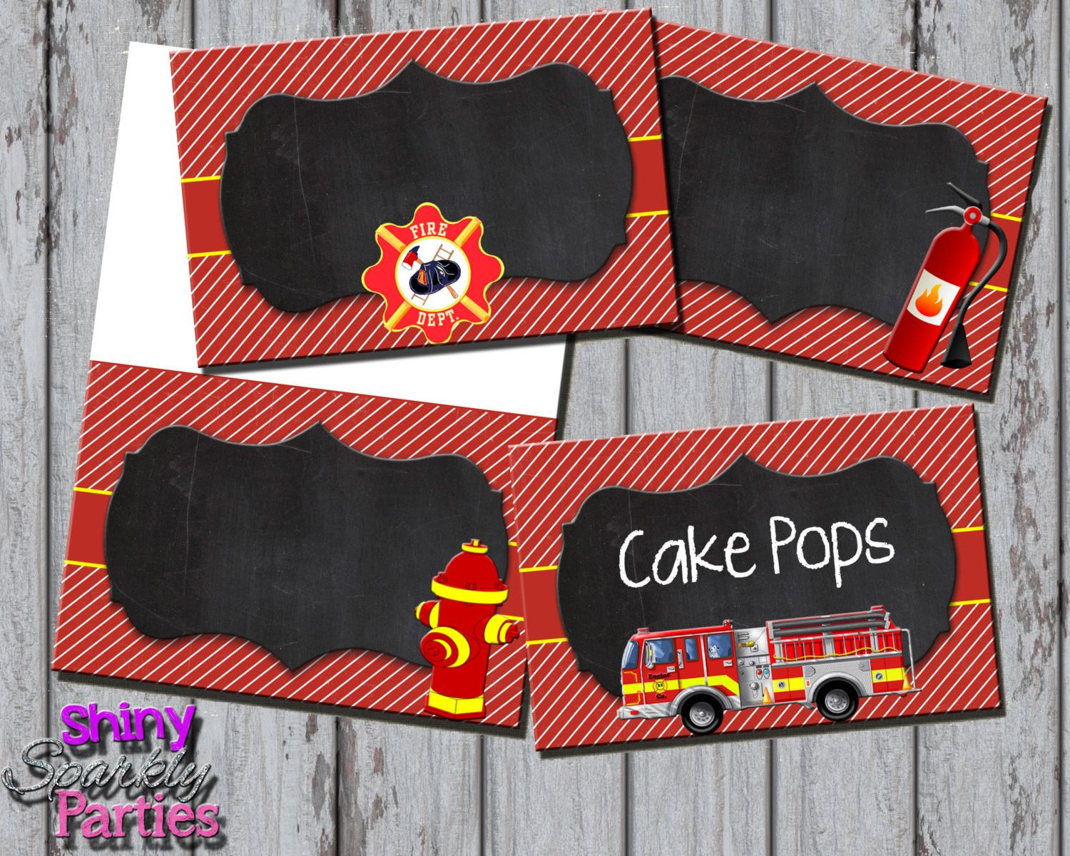 Firetruck Food Tent Signs Editable 2