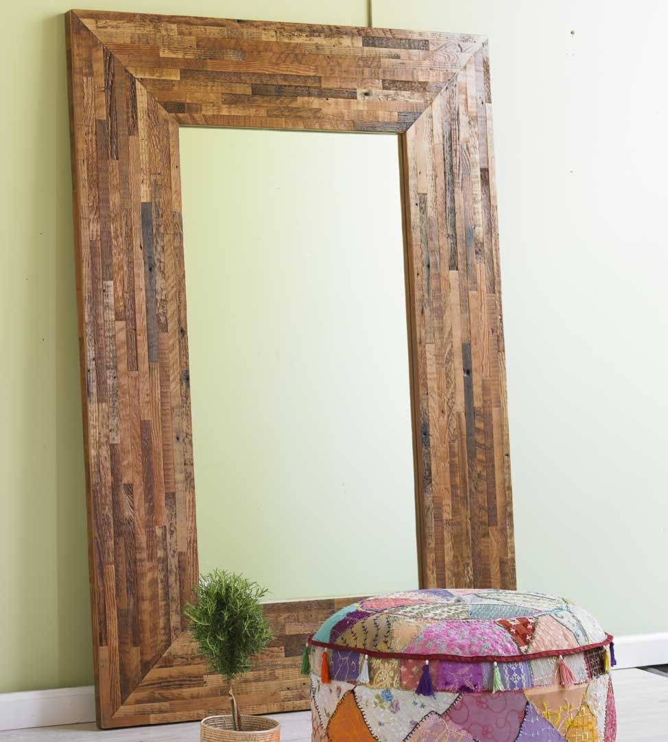 In floor mirrors of rustic style, the natural color of wood frame is ...