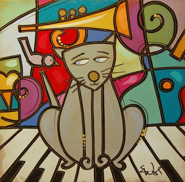 Pinturas Abstractas De Gatos Art Mario Characters Character