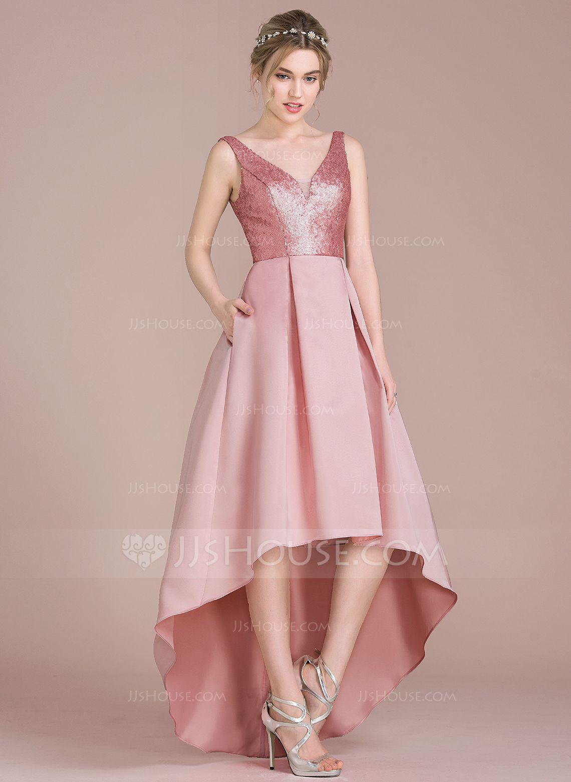 Dress for wedding party female  ALinePrincess Vneck Asymmetrical Satin Sequined Bridesmaid Dress