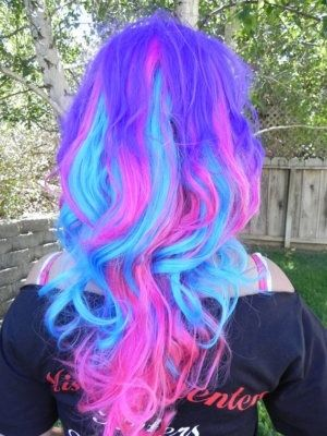 Purple Blue Pink Cotton Candy Color Hair I Love The Teal Neon Hair Cool Hairstyles Hair Color Purple