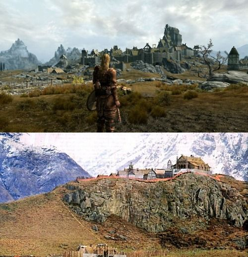 Whiterun in Skyrim (top) reminds me of Rohan from Lord of the Rings
