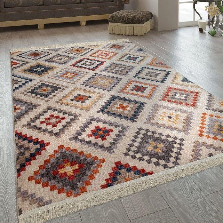 Fransen Teppich Wohnzimmer Ethno Design Boho Rautenmuster Mehrfarbig Creme Teppiche Wohnkulturdiy Klassisc Wohnzimmer Teppich Teppich Wohnzimmer Teppich Bunt