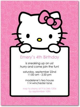 Birthday Party Invitations Hello Kitty Simple Sign By Tiny Prints Hello Kitty Birthday Invitations Hello Kitty Invitation Card Hello Kitty Party