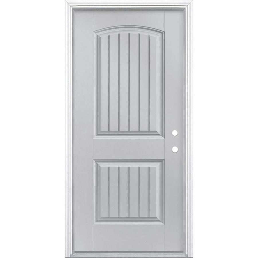 Masonite Left Hand Inswing Infinity Gray Painted Fiberglass Prehung Entry Door With Insulating Core Common 36 In X Entry Doors Grey Paint Masonite