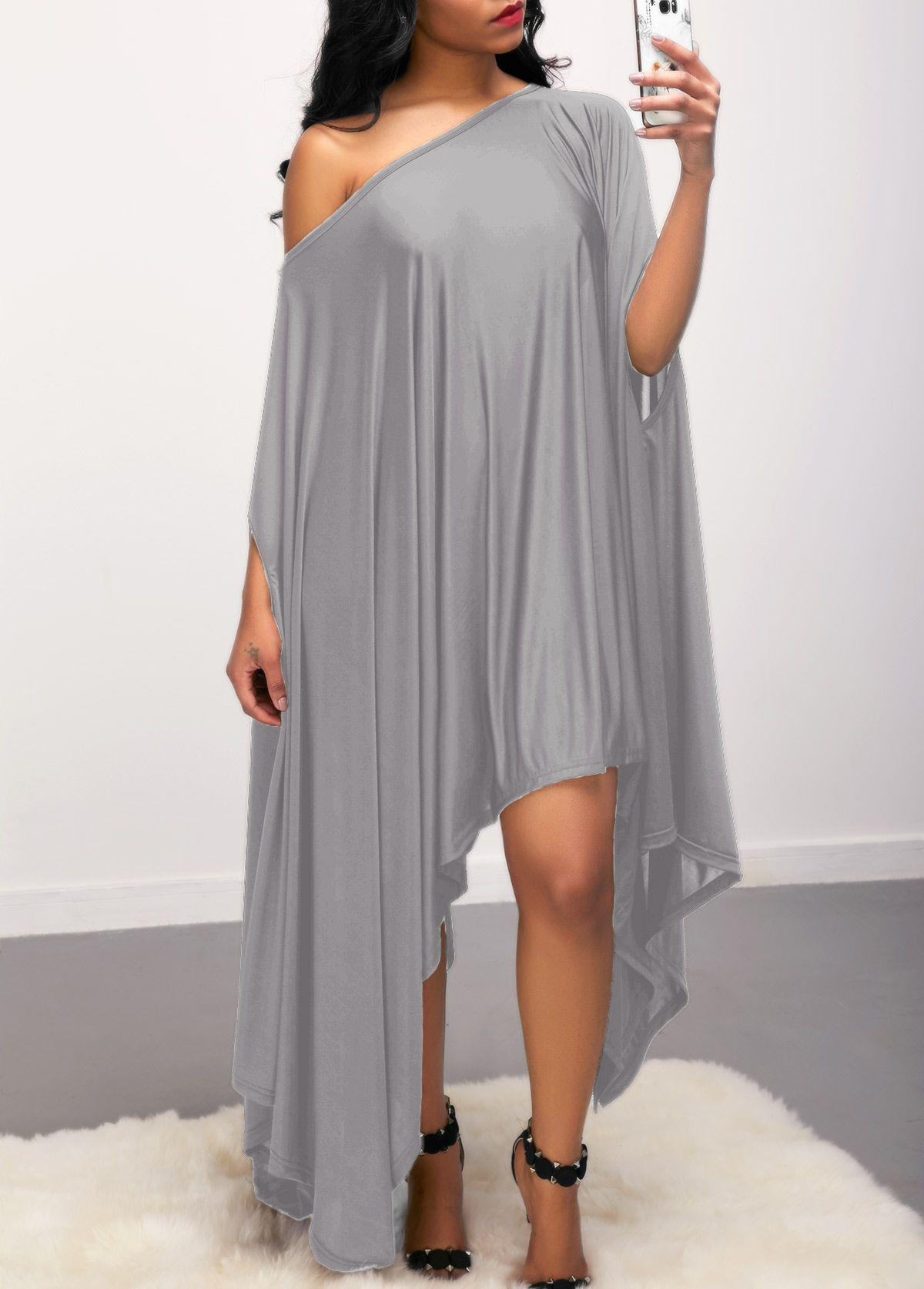 a91bcc548f5 Solid Grey Skew Neck Asymmetric Hem Dress on sale only US 26.85 now ...