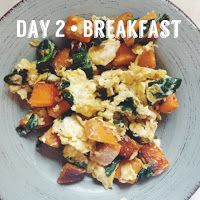 Breakfast: Scrambled eggs with sautéed sweet potatoes and spinach