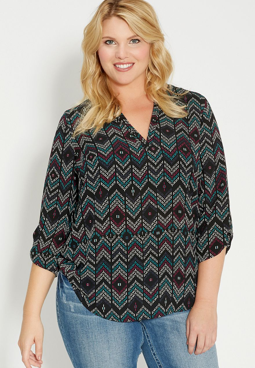 a8389079da2 the perfect plus size blouse in patterned chevron print -  maurices ...