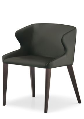 """""""Leila Leather Arm Chair""""  Leila side chair, soft and elegant, with its geometrical shape is conceived for fine dining restaurants and offices. Leila is upholstered in leather or vinyl. Frame is made in beech wood with finishes in natural beech, weng.  Please contact us for pricing (718)363-3097."""