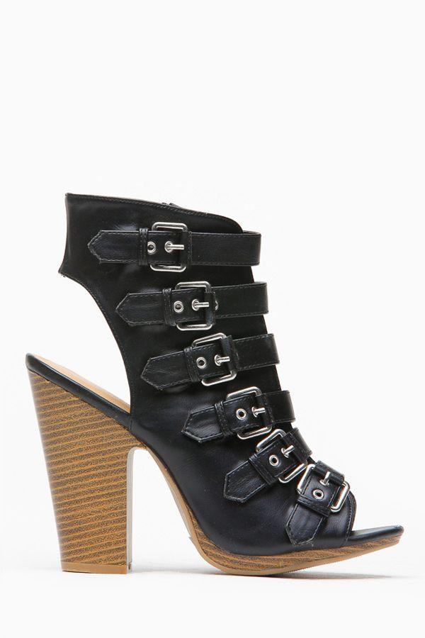 Wild Diva Black Belted Buckle Peep Toe Chunk Heel     #Belted, #Black, #Buckle, #Chunk, #Diva, #Heel, #Peep, #Wild