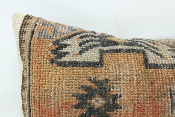 12x20 Turkey Rug Pillow, Antique Pillow, Neck Throw Pillow, Cushion Cover, Indoor Pillow,Orange Pill
