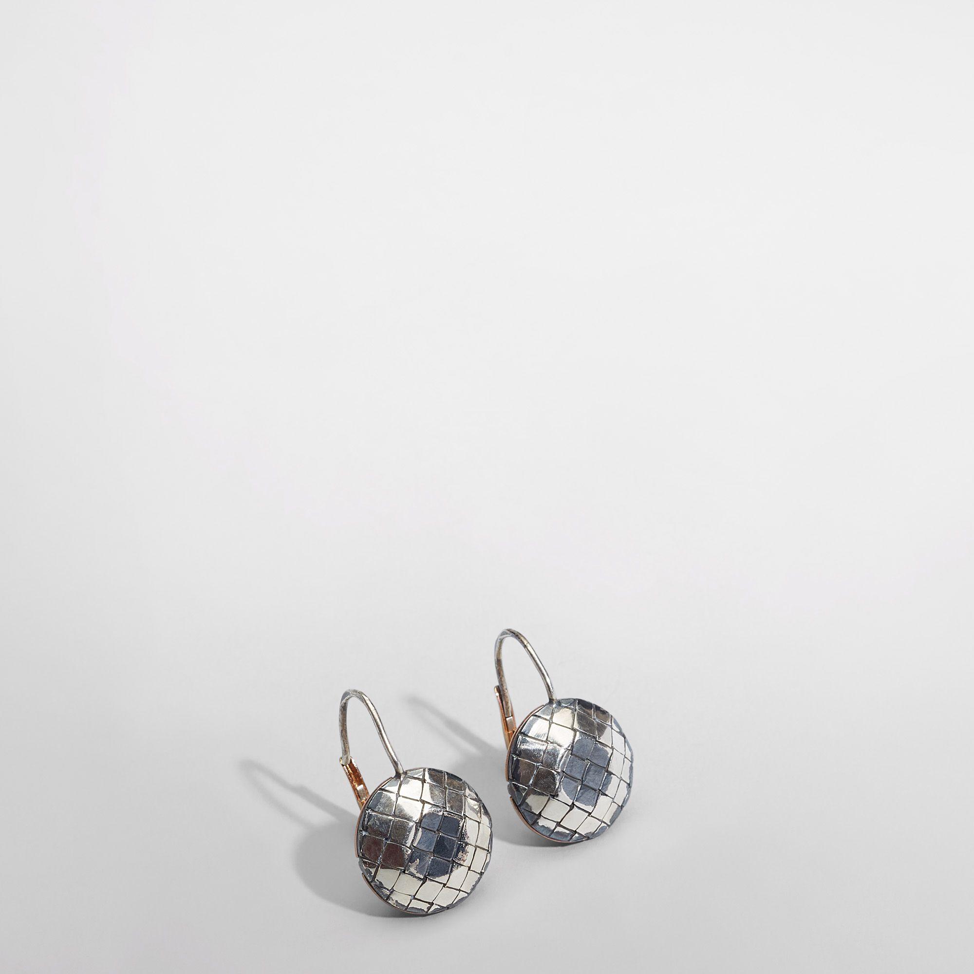 Bottega Veneta Oro Bruciato Intreccio Svanito Silver Earings