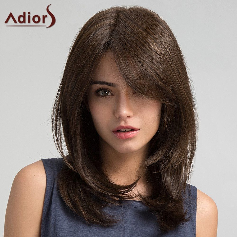 Adiors long oblique bang straight synthetic wig synthetic wigs